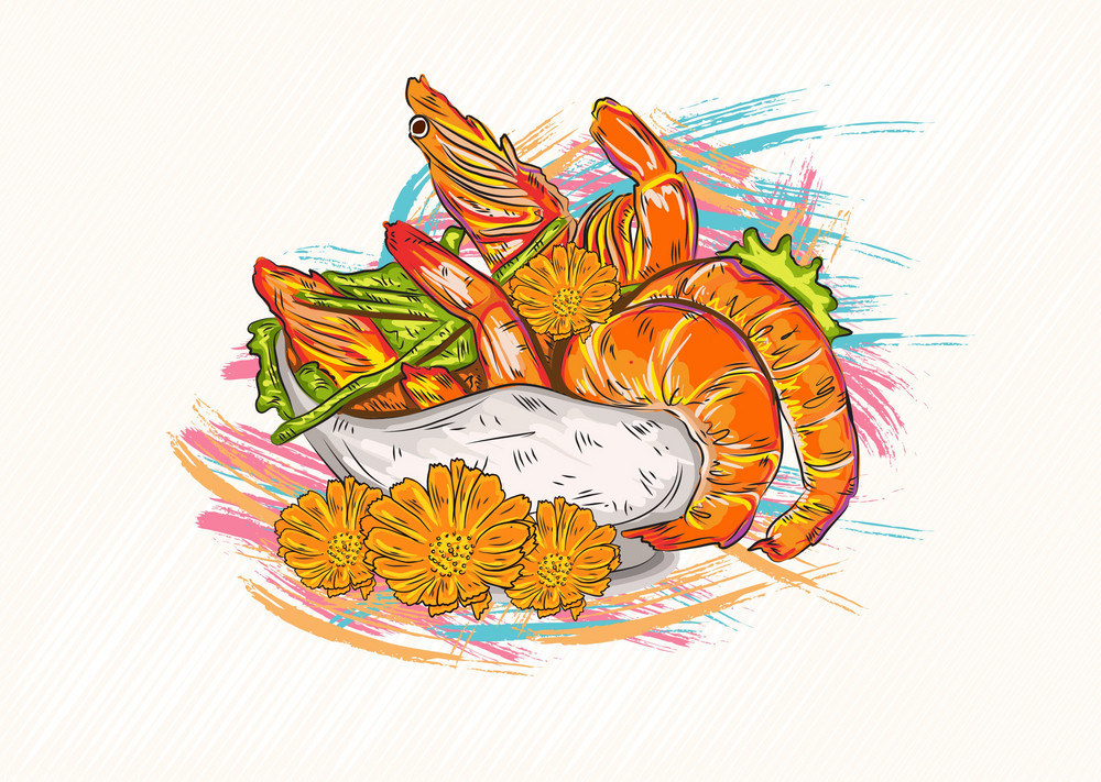 Cooked Shrimp Vector Illustration