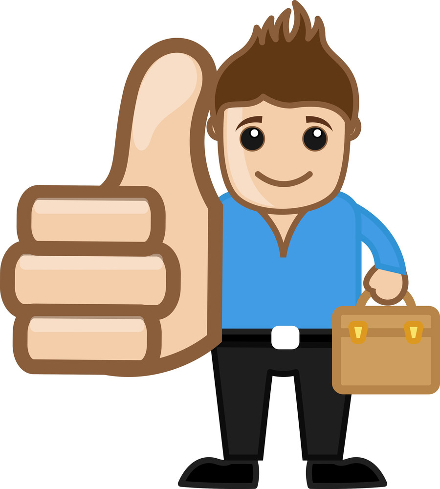 Cool Man Thumbs Up Concept - Vector Character Cartoon Illustration