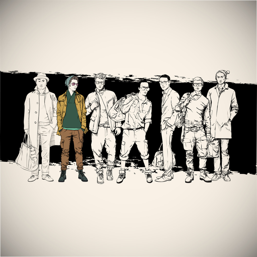 Cool Poster With Stylish Guys. Vector Illustration.