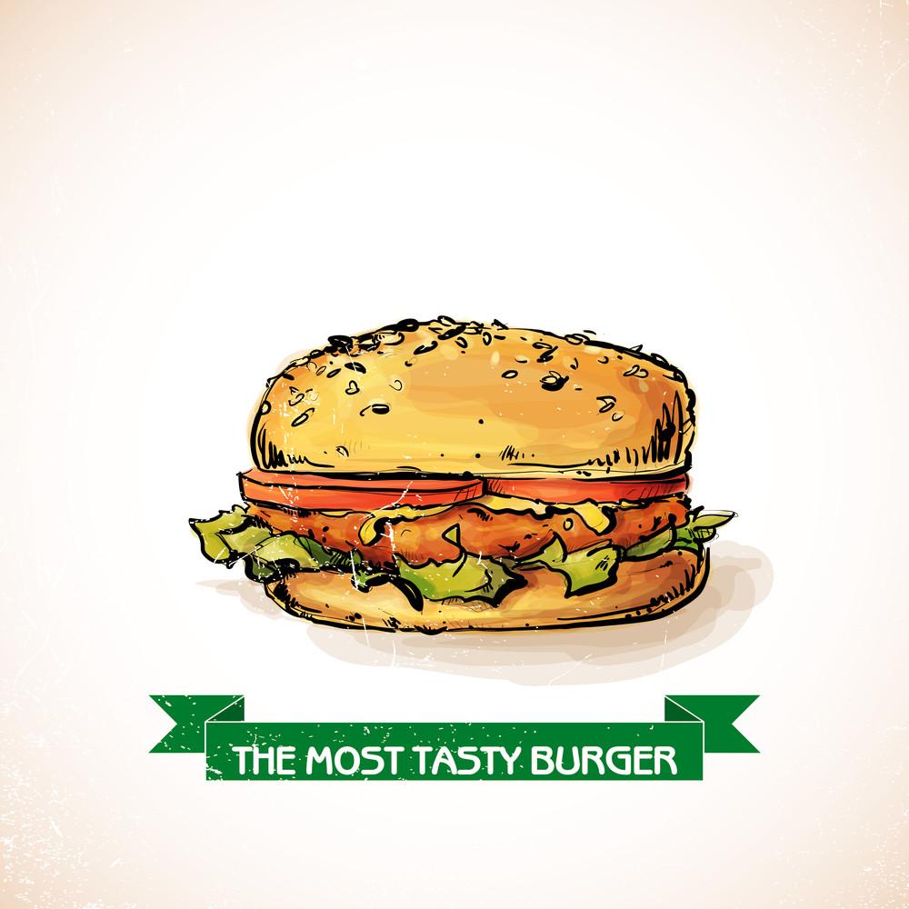 Cool Tasty Hamburger. Sketch + Watercolor Style. Vector Illustration.