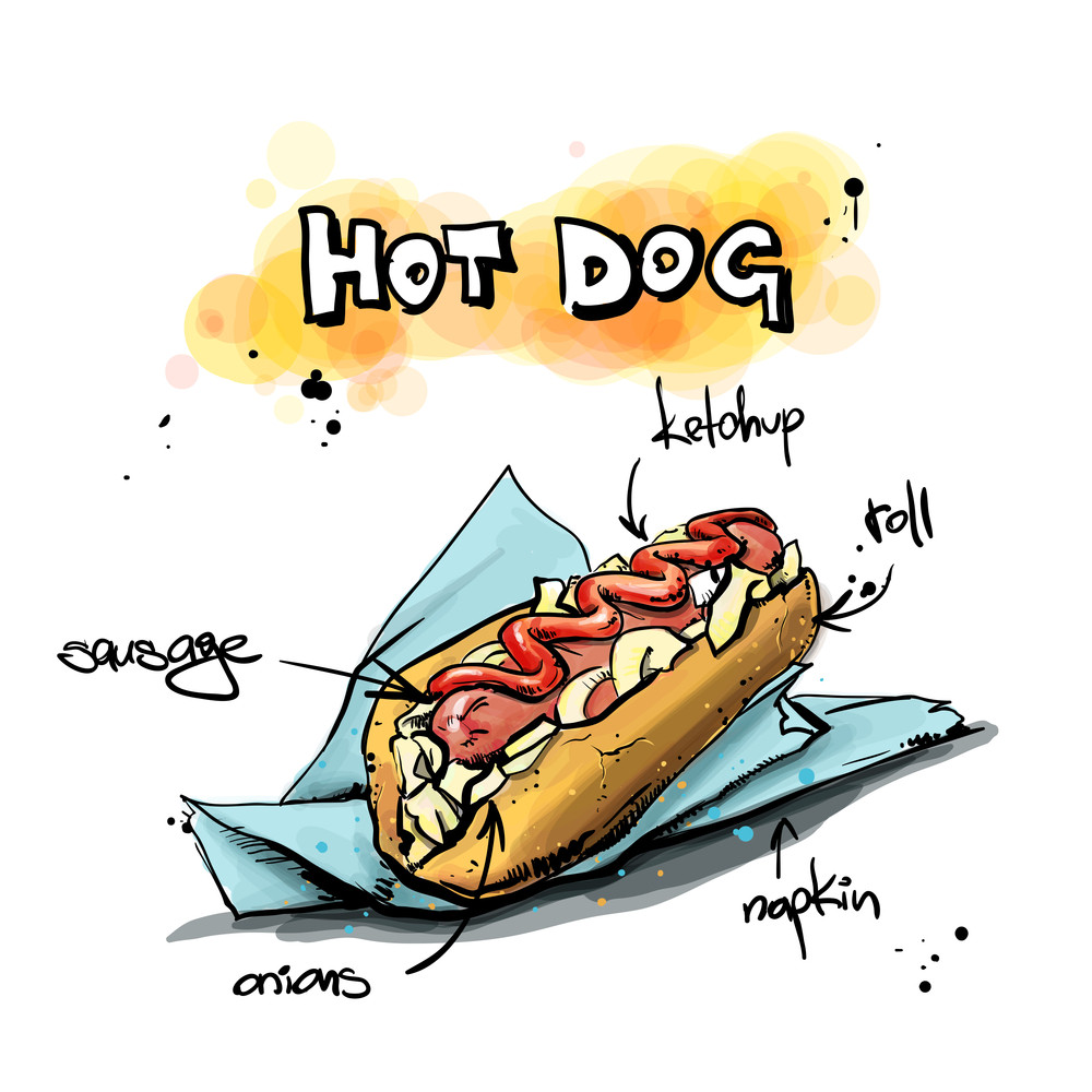 Cool Tasty Hot Dog. Sketch + Watercolor Style. Vector Illustration.