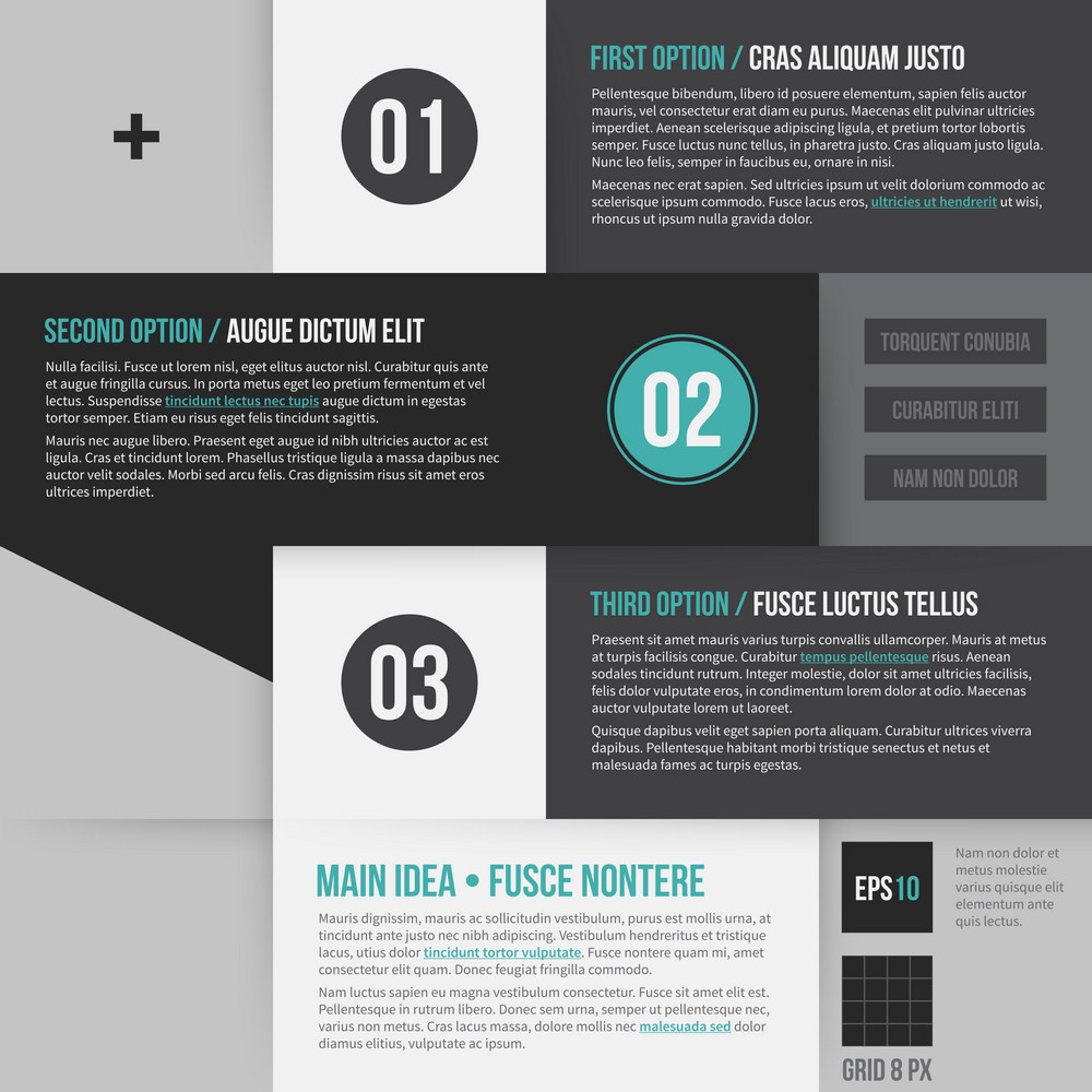 Modern Corporate Layout With 3 Options. Eps10.