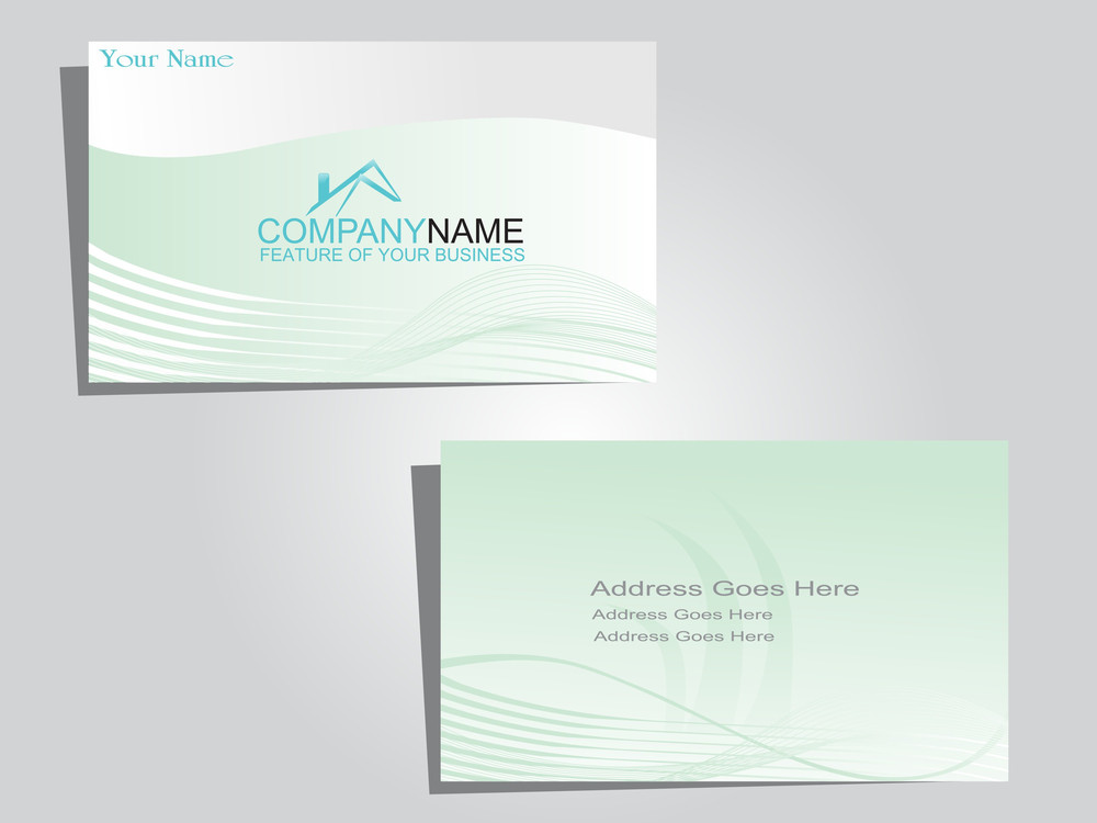 Corporate Identity Business Card With Green Waves Royalty-Free Stock ...
