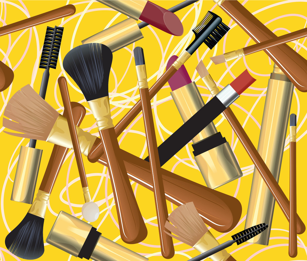 Cosmetic Tools. Vector Seamless.