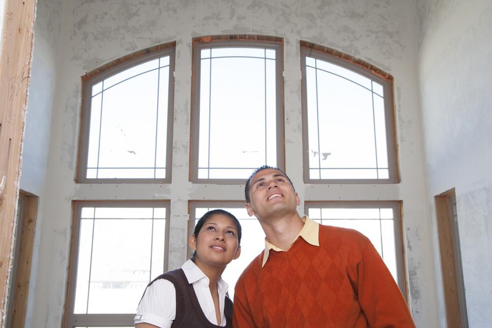 Couple building a home