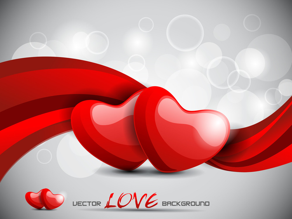 Couple Hearts With Red Glossy Wave And Abstract Background