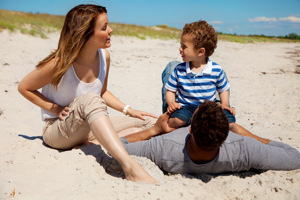 Couple spending fun summer weekend with their son