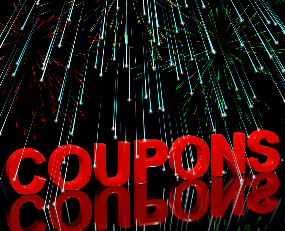 Coupons Word With Fireworks Showing Vouchers For Reductions Or Discounts