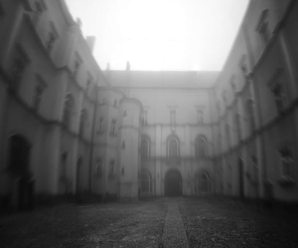 Courtyard In The Fog