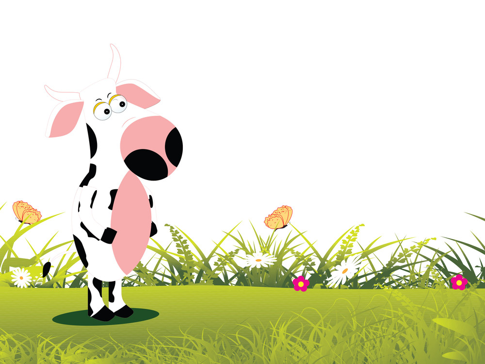 Cow Standing With Garden Background