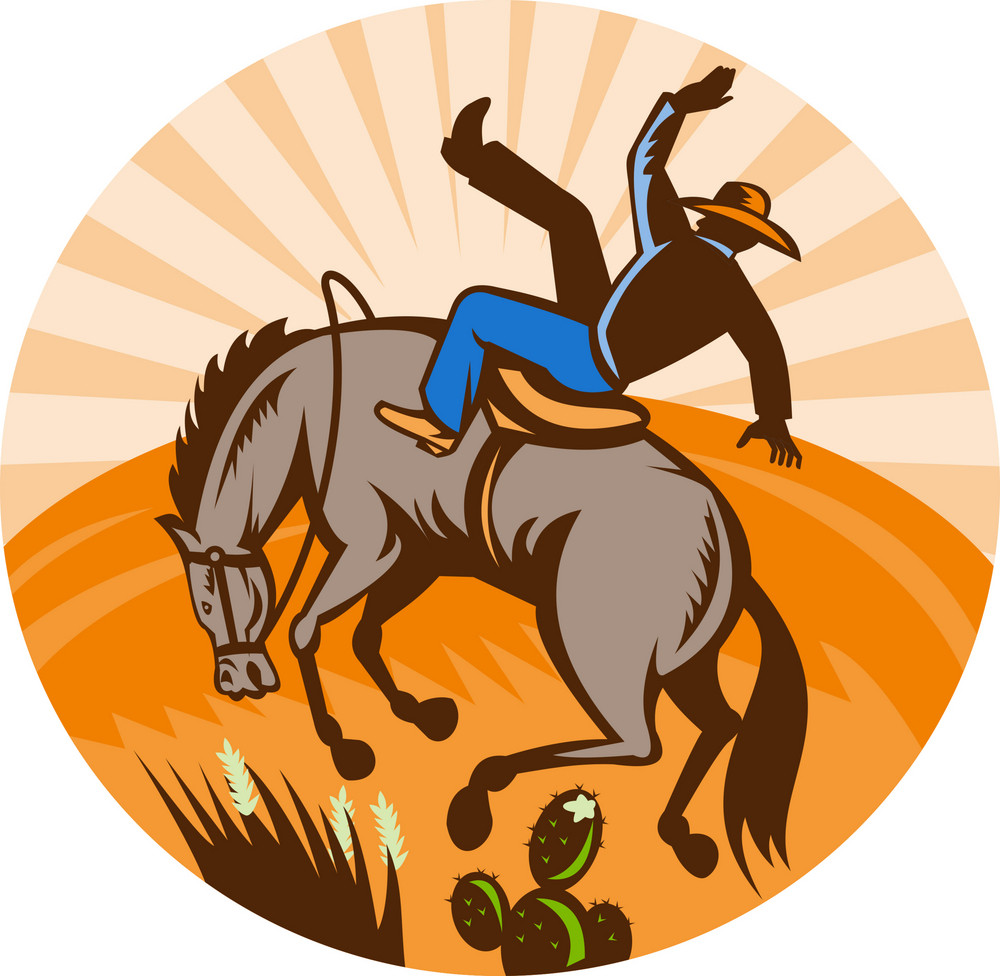 Cowboy Falling Off Horse In The Desert