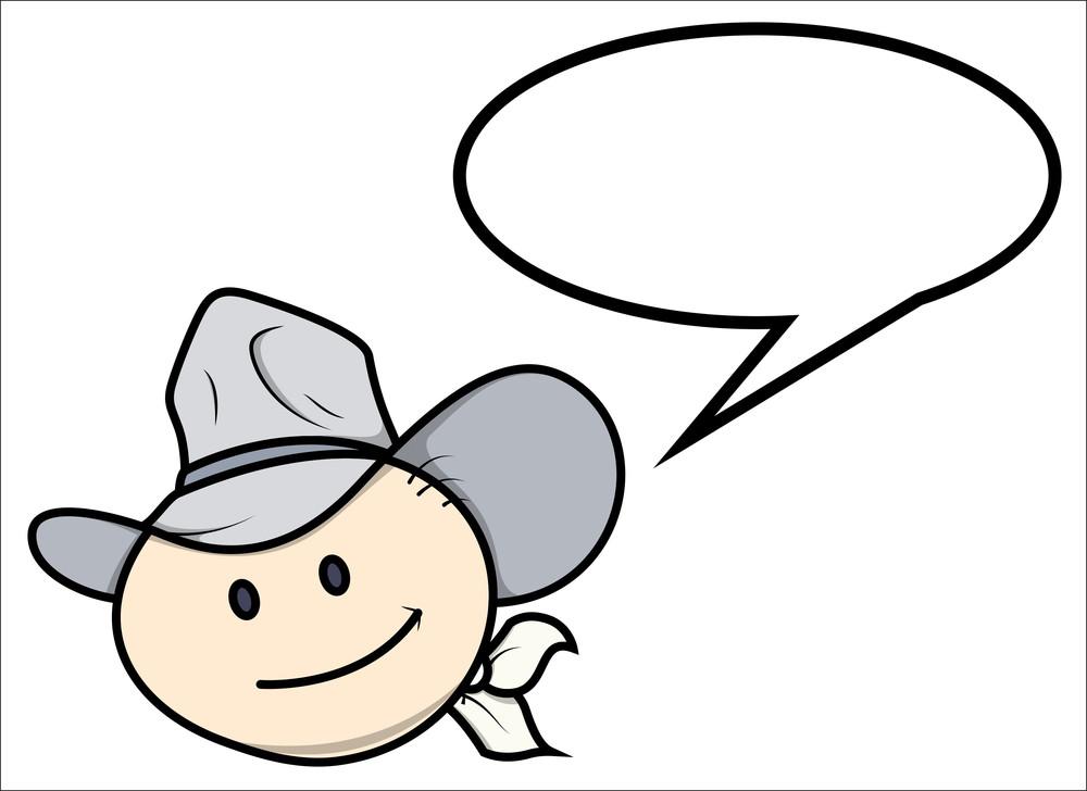 Cowboy Kid - Saying - Vector Cartoon Illustration