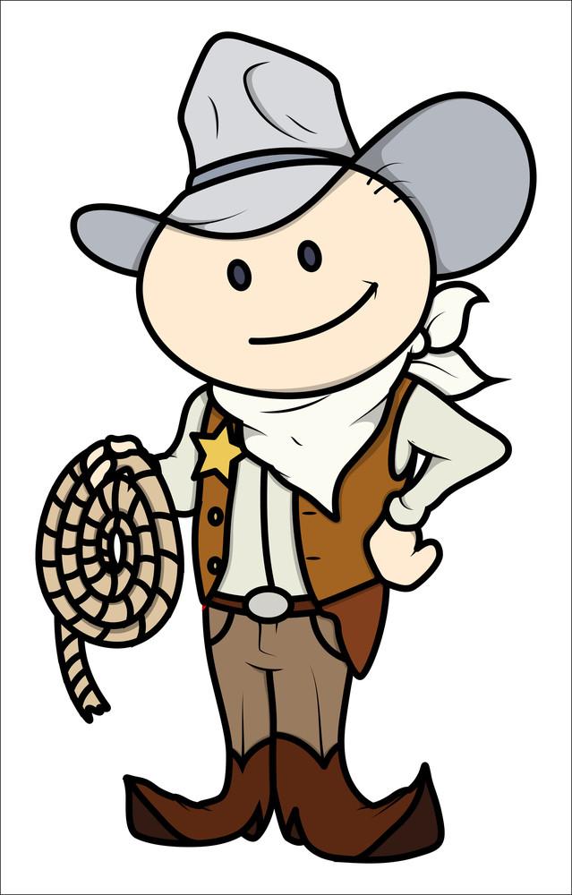 Cowboy Kid - Vector Cartoon Illustration