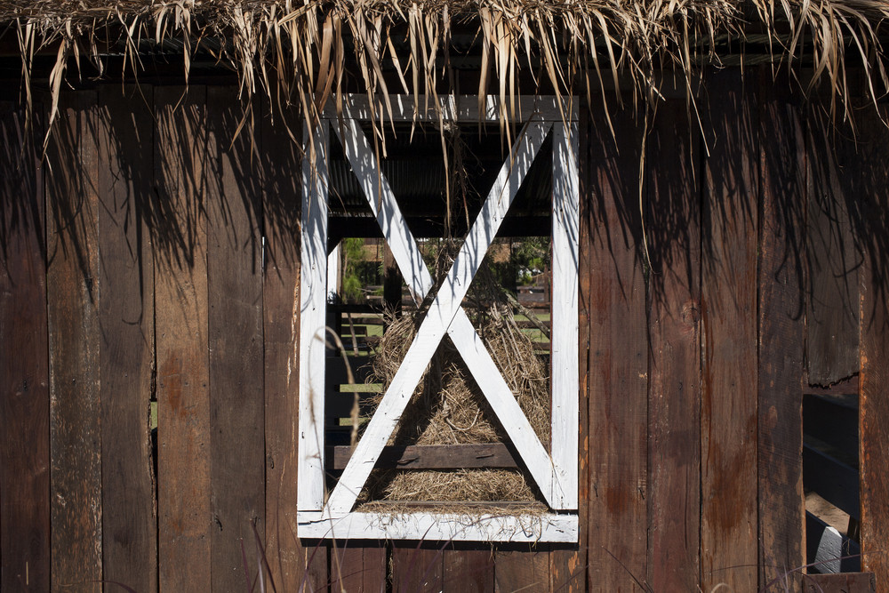 Cowboy white window on wooden wall house