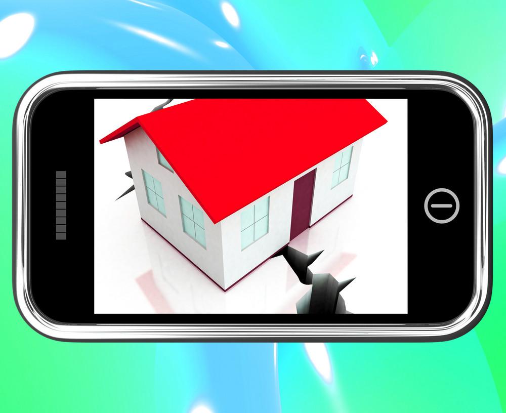 Cracked Foundations On Smartphone Showing Damaged House