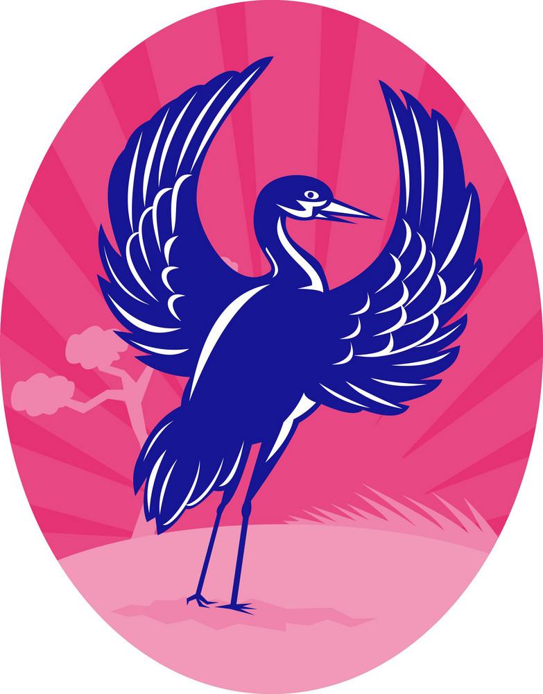Crane Flapping Wings Pine Tree Sunburst