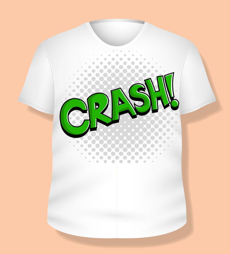 Crash White T-shirt Design Vector Illustration Template