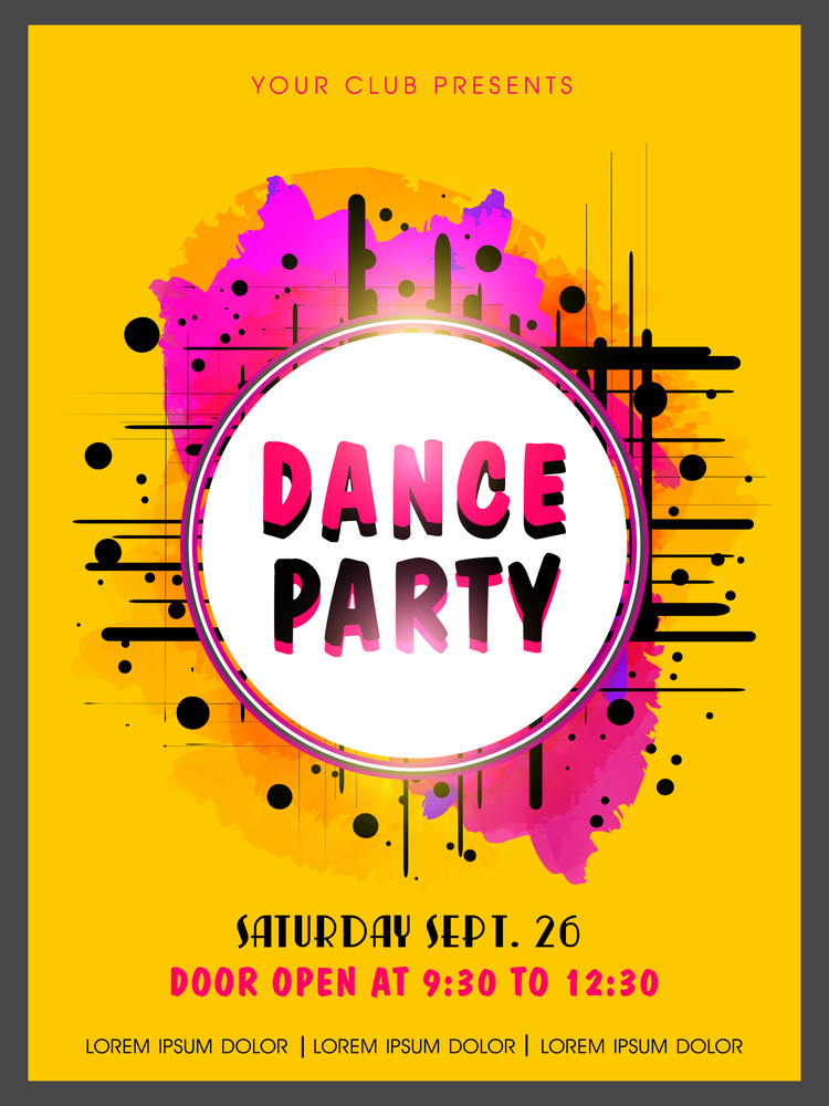 Creative Abstract Dance Party Flyer Template Or Banner Design On
