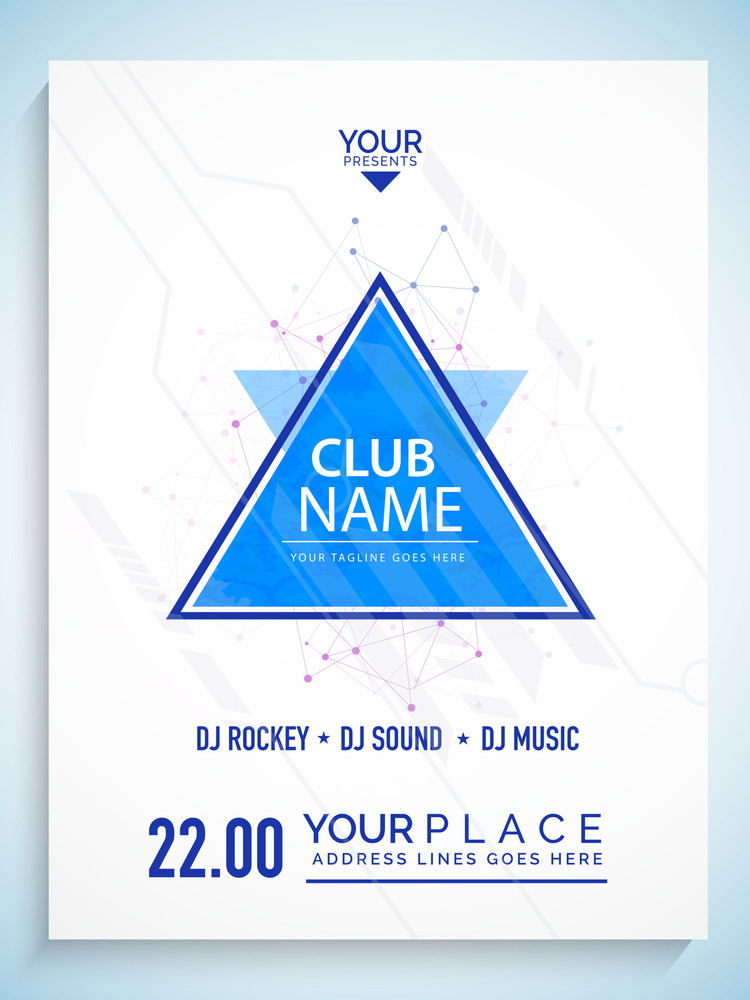 Creative abstract flyer template or banner design with party details on shiny background.