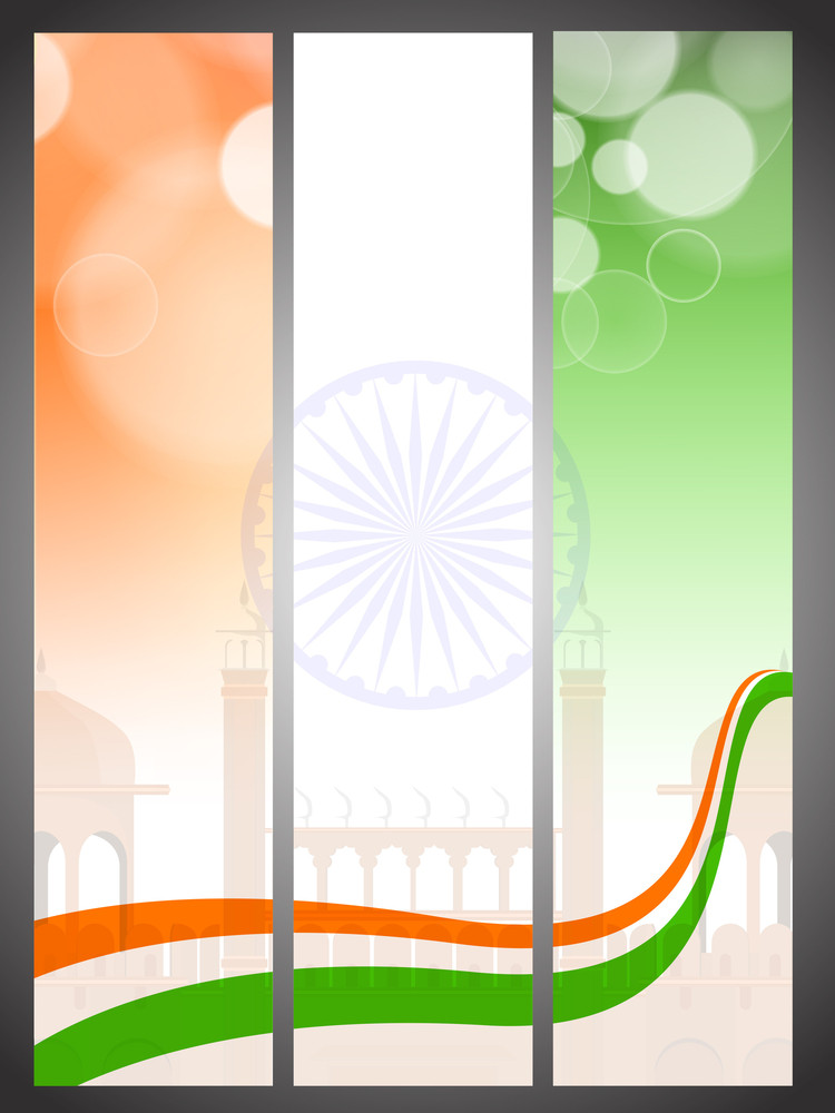 Creative Abstract Headers For Independence Day And Republic Day.