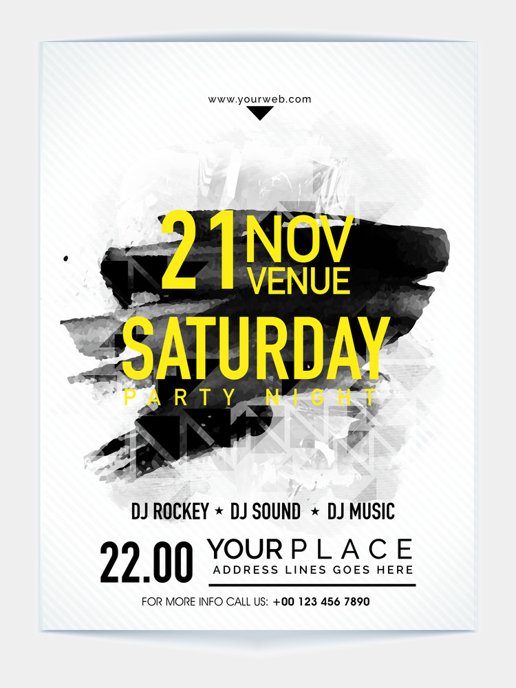 Creative abstract Template Banner or Flyer design with date and time details for Saturday Party Night celebration.