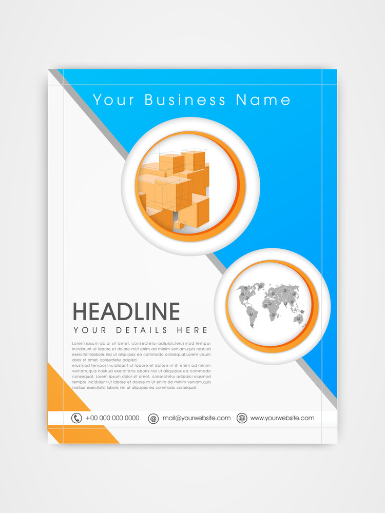 creative business flyer template or brochure design in blue and