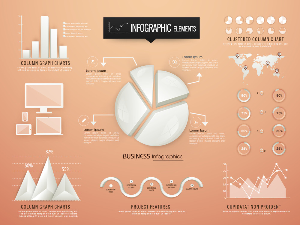 Creative Business Infographic Elements Including Glossy 3d