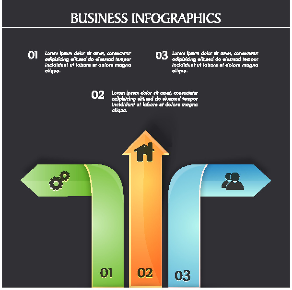 Creative Business infographic template layout with colorful arrows.