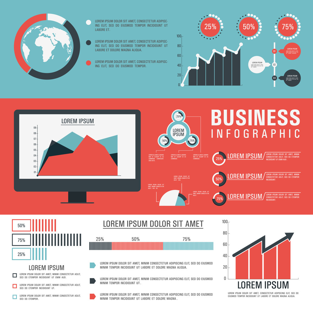 Creative Business Infographic template with colorful statistical graphs