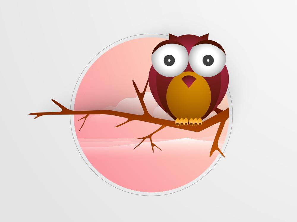 Creative Cartoon Design With Beautiful Owl.