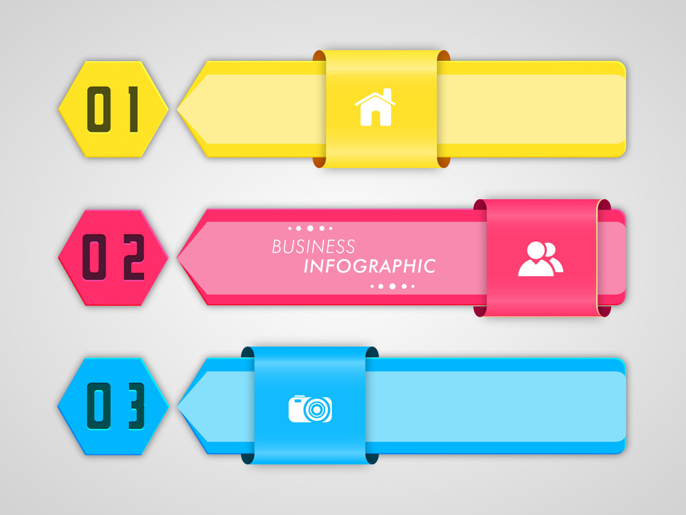Creative colorful business infographic paper layout with 2.0 web icons and number on grey background.