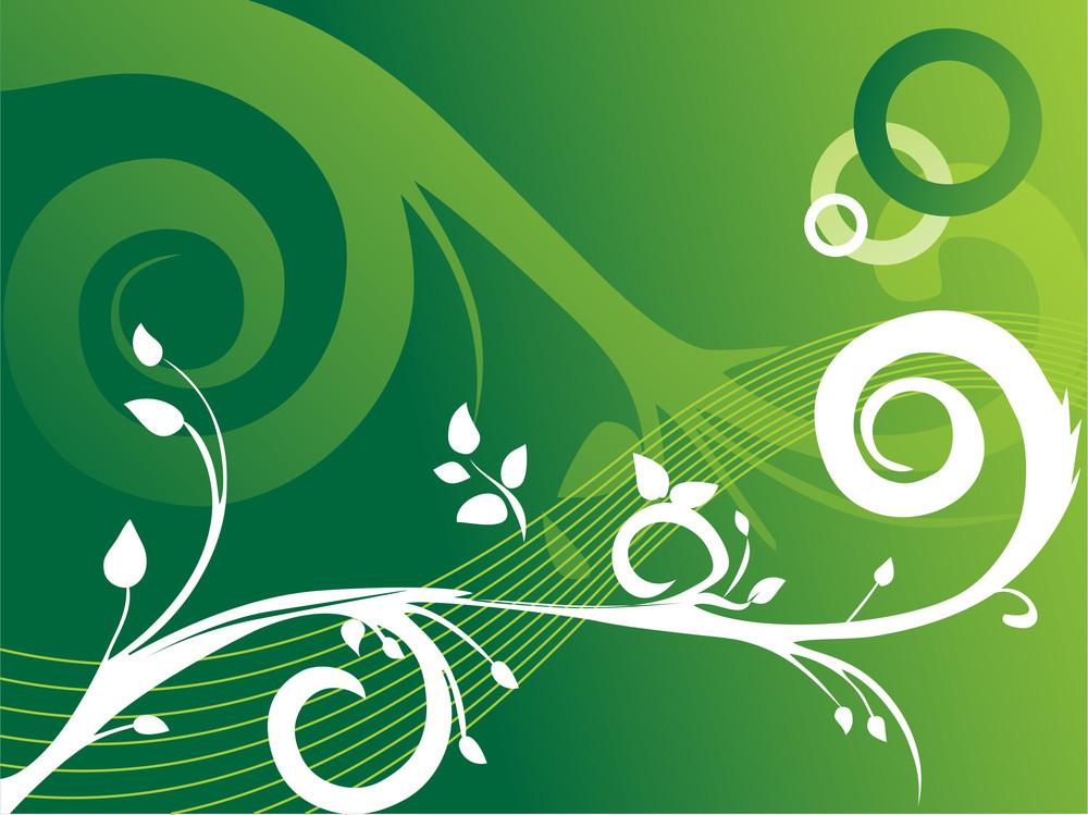 Creative Curves And Swirls On Flourish Green Background