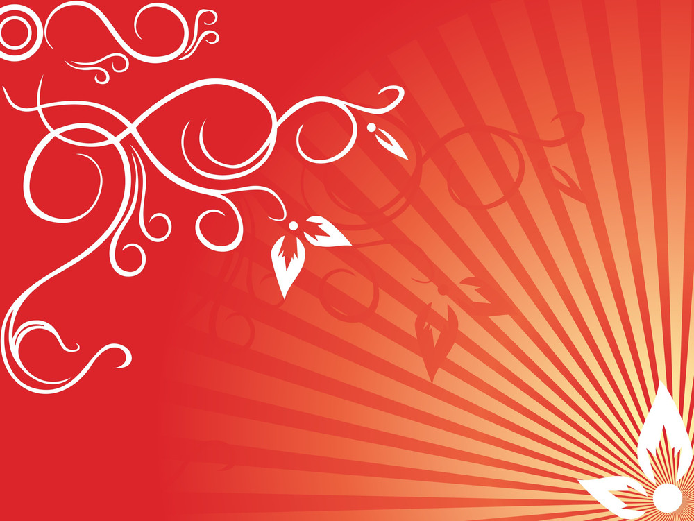 Creative Curves And Swirls On Flourish Red Background