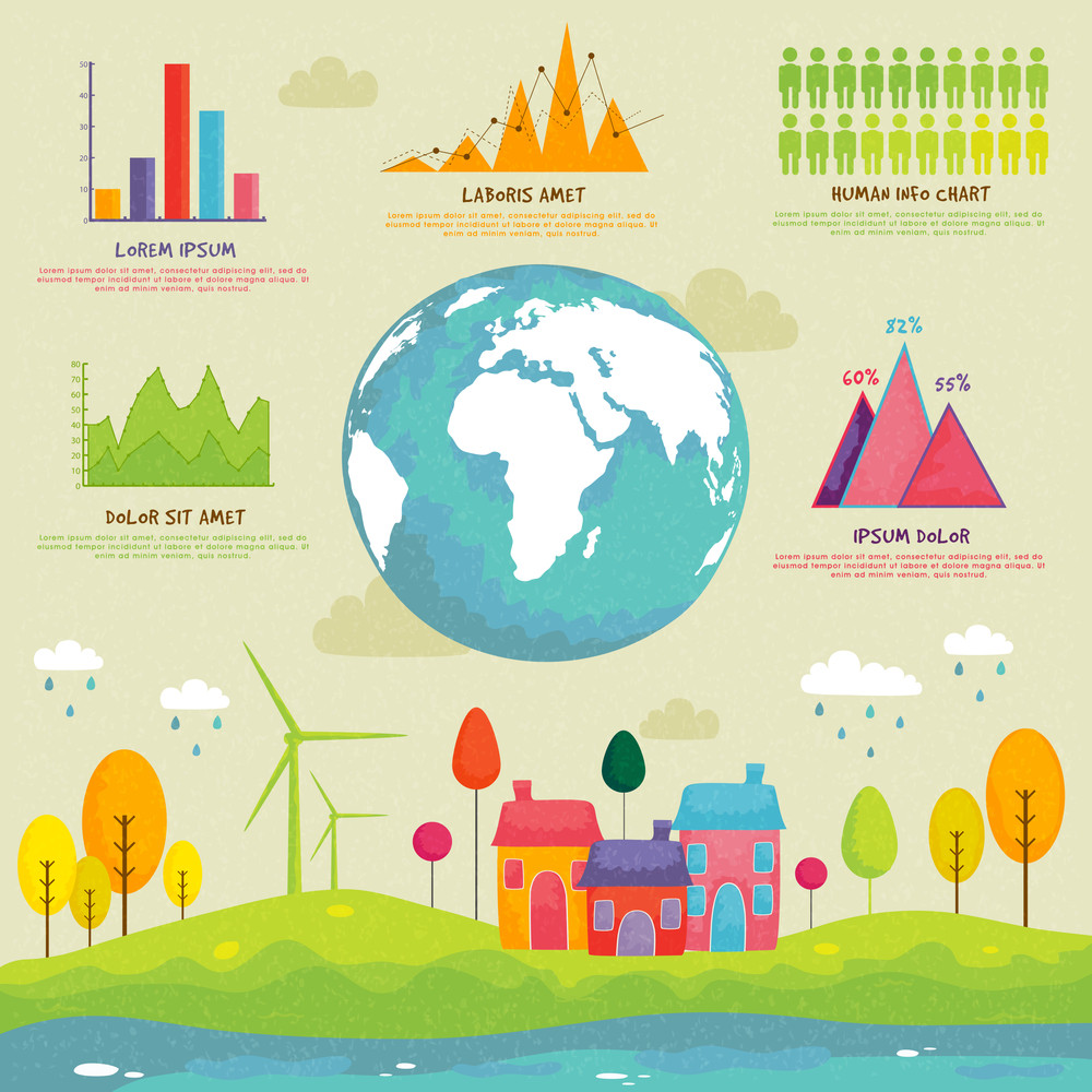 Creative Ecological Infographic elements with globe
