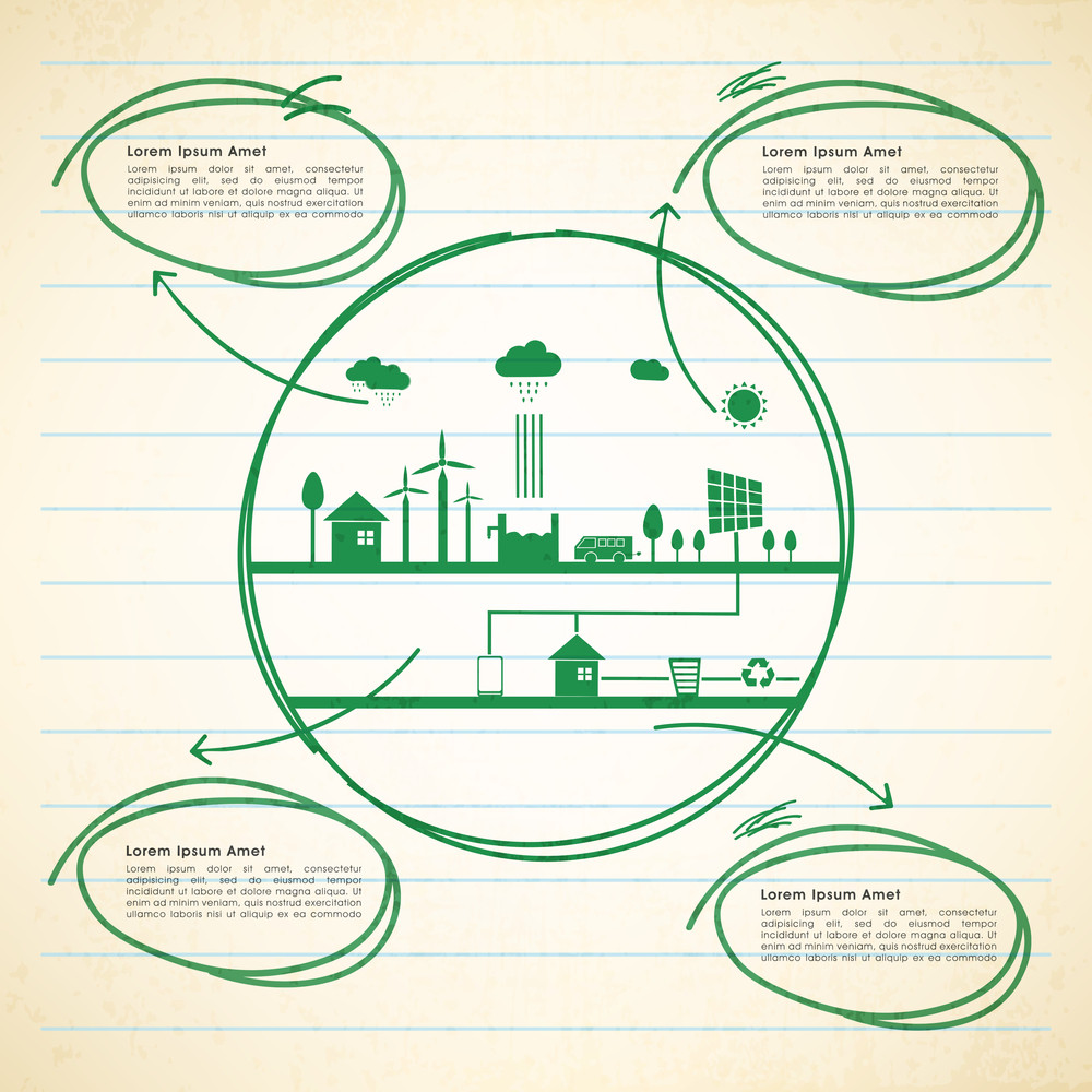 Creative Ecological Infographic template with illustration of green ...