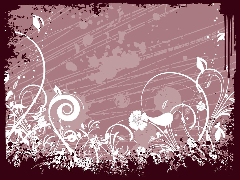 Creative Floral Design With Grunge