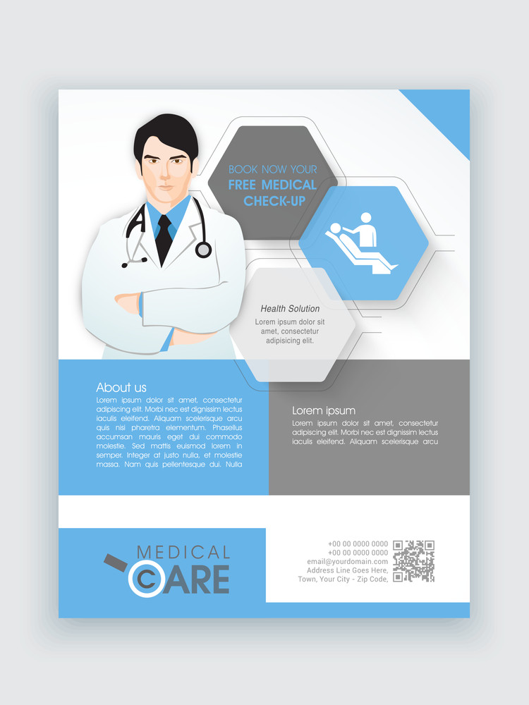 Creative flyer with illustration of a young doctor for Medical Care can be used as template or brochure design.