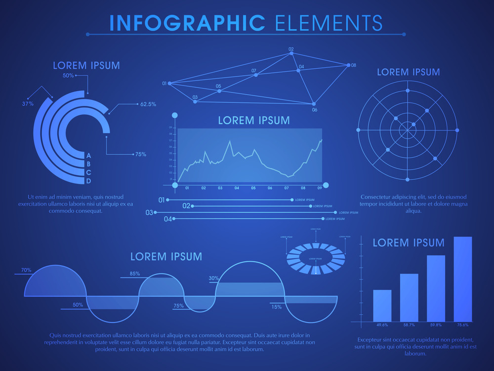 Creative glossy Business Infographic template with various statistical bar