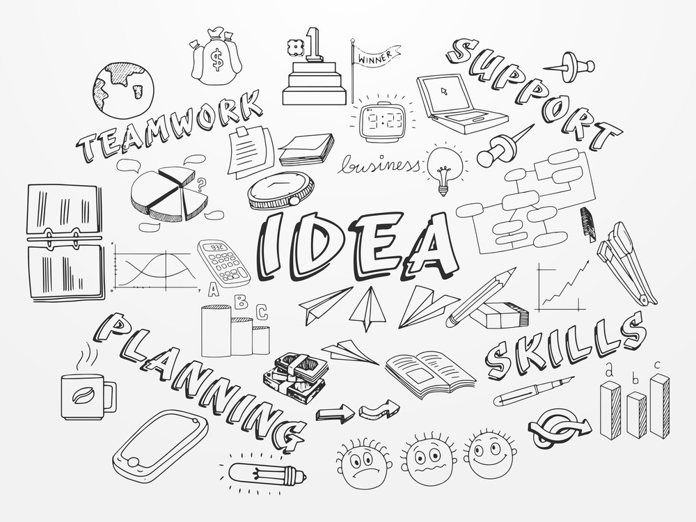 Creative hand drawn business infographic elements on white background for your business presentation and publication.