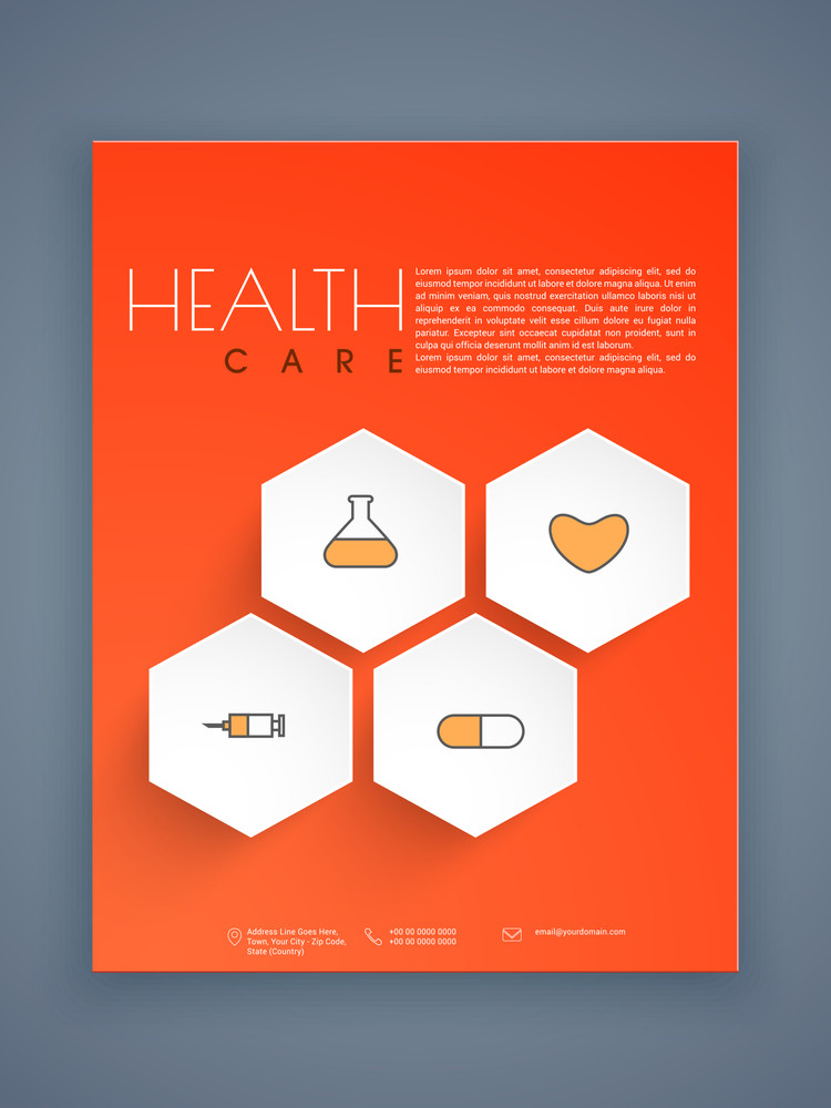 Creative Health Care Flyer Template Or Brochure Presentation With