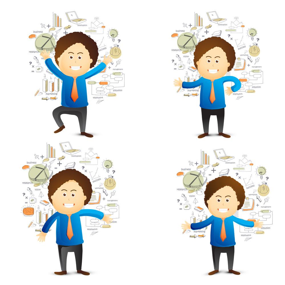 Creative illustration of businessman in different avatar
