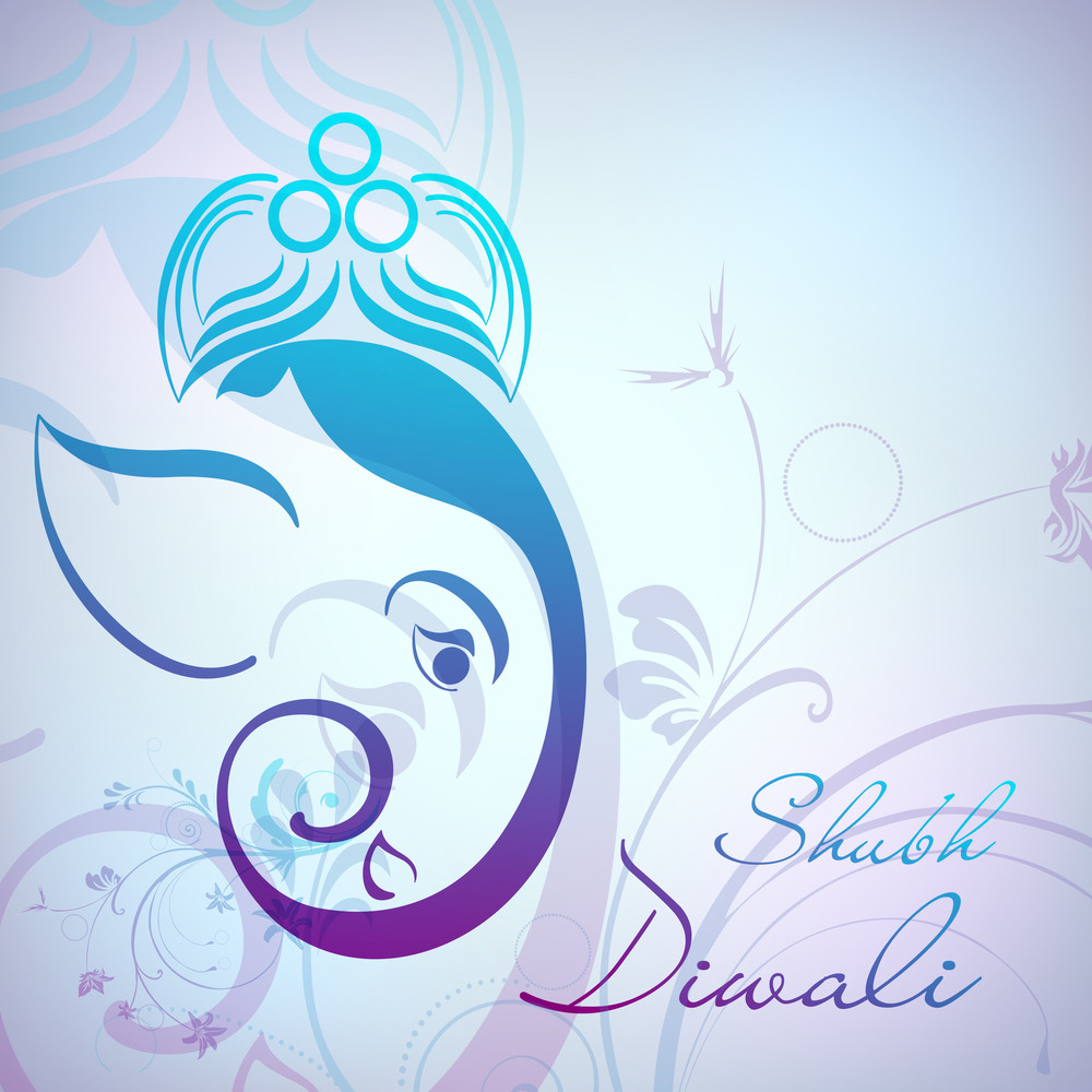 Creative Illustration Of Hindu Lord Ganesha On Colorful Background.