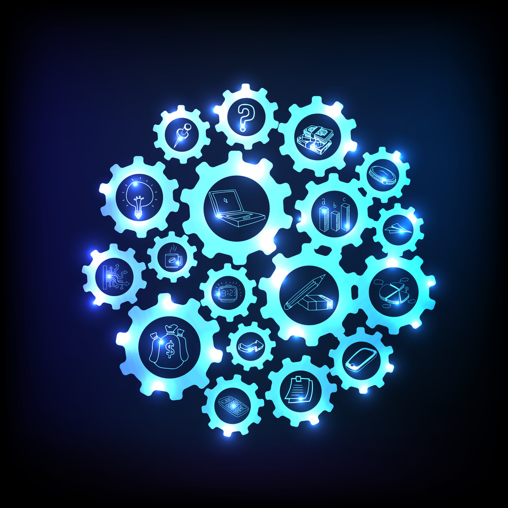 Creative illustration of shiny cogwheel with various infographic elements.
