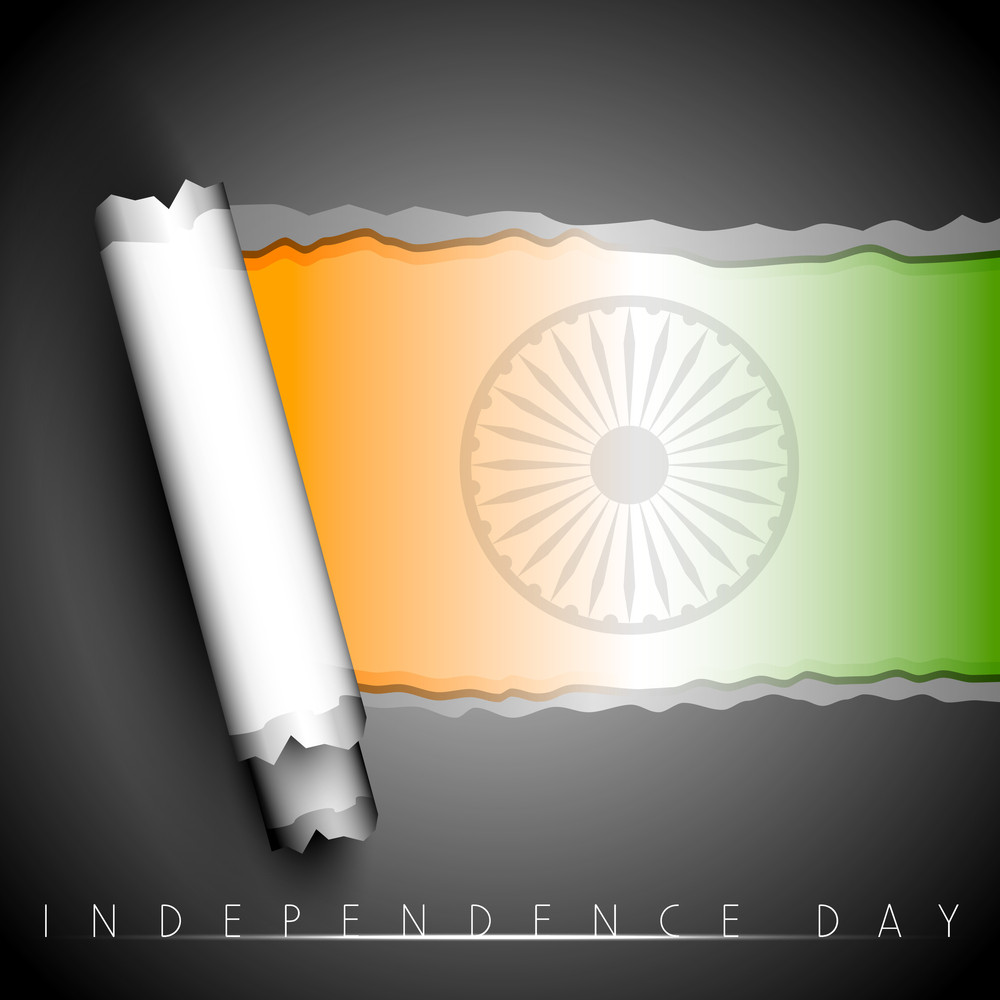 Creative Indian Flag Background With Torn Paper.