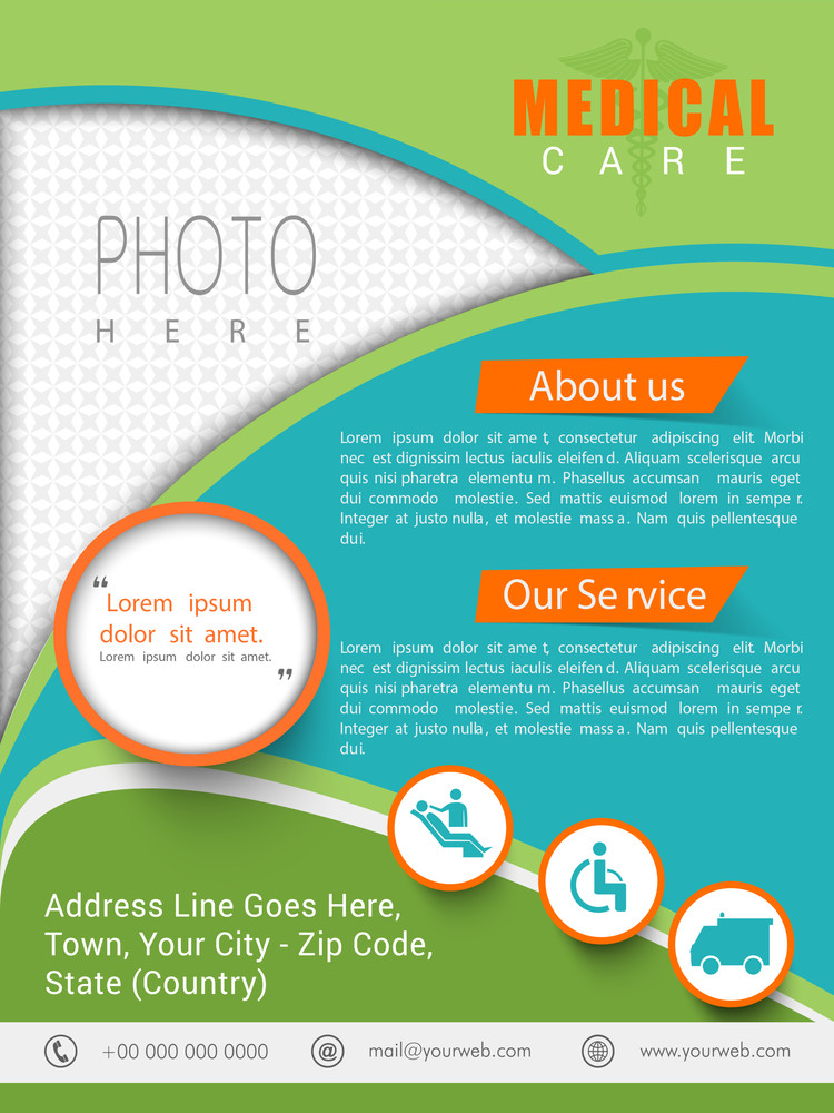 Creative Medical Care template brochure or flyer design with place holder for your photo and content.