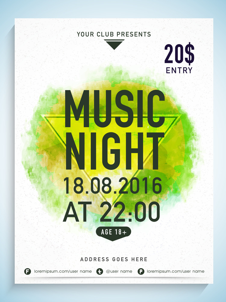 Creative Music Night flyer template or banner design with party details on color splash background.