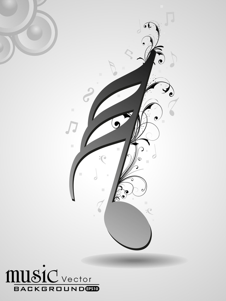 Creative Musical Note With Florels. Vector.