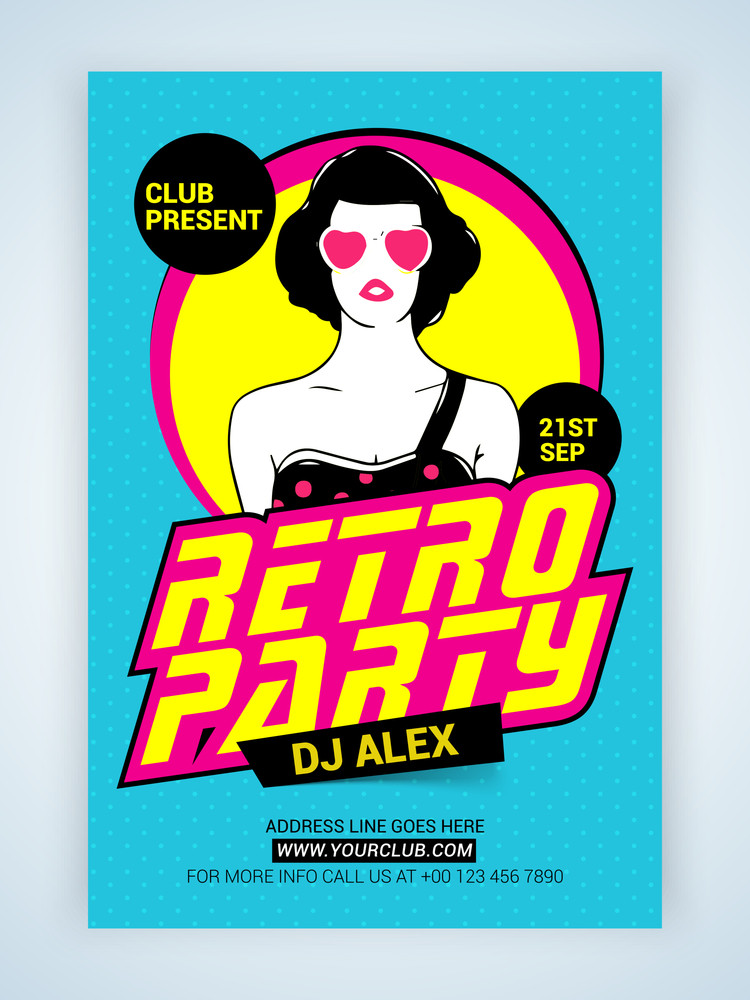 Creative Retro Party Template Banner or Flyer design with illustration of a young modern girl.