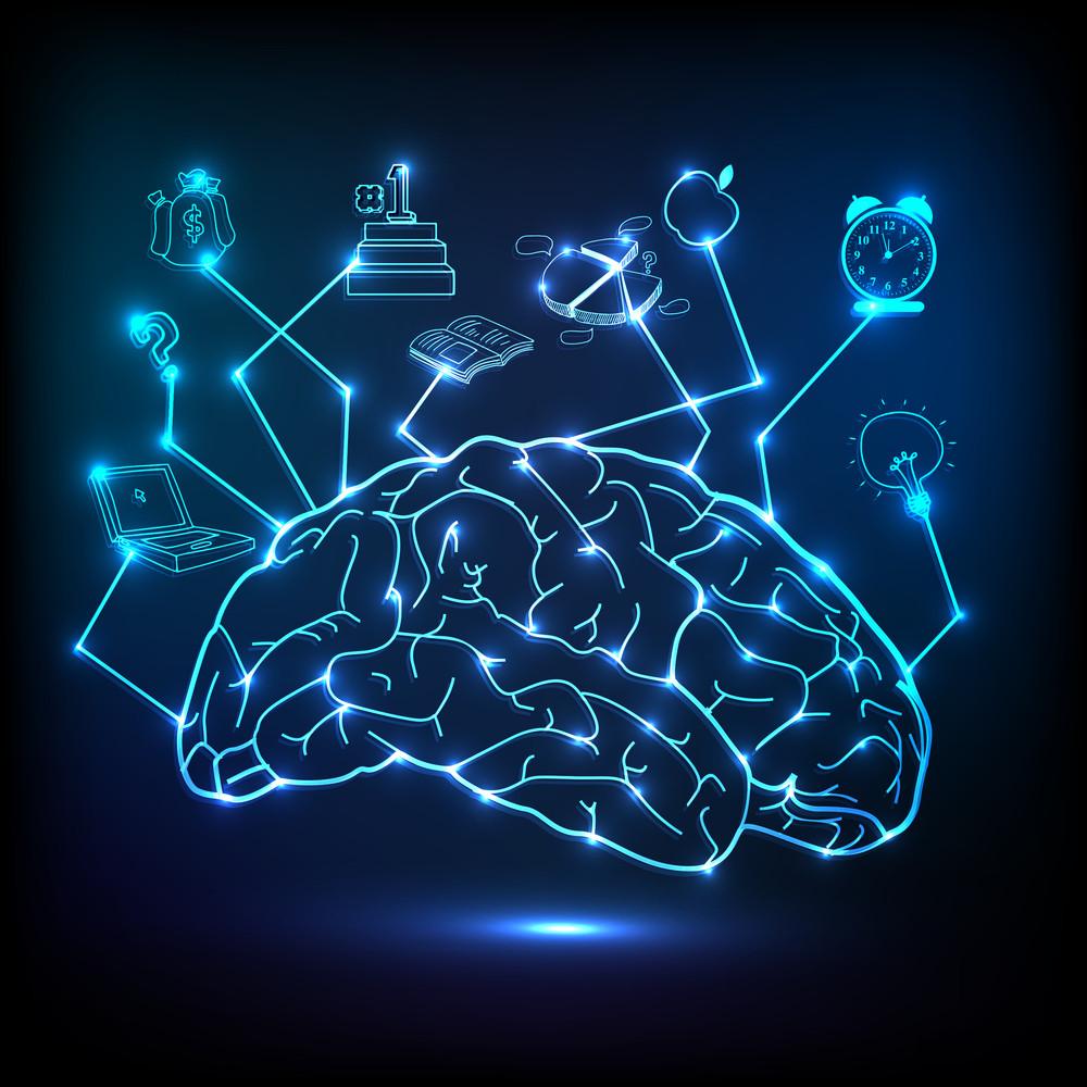 Creative shiny illustration of brain infographic on blue background.