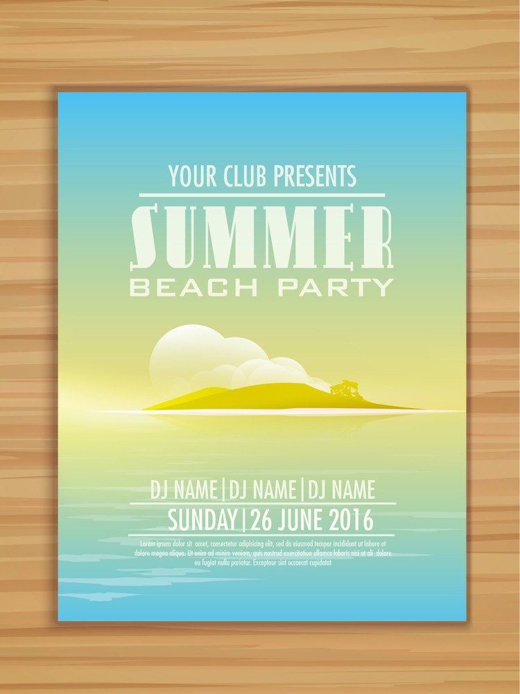 Creative Summer Beach Party celebration flyer banner or template with illustration of Island on wooden background.